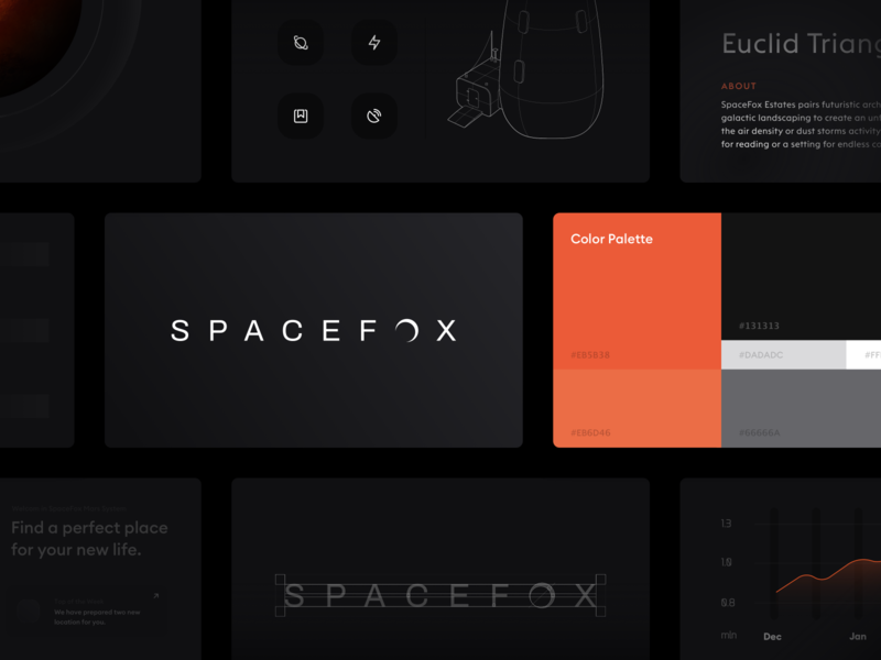SpaceFox - Brand Design vector typography dark mode mars space identity icons logo id ui branding