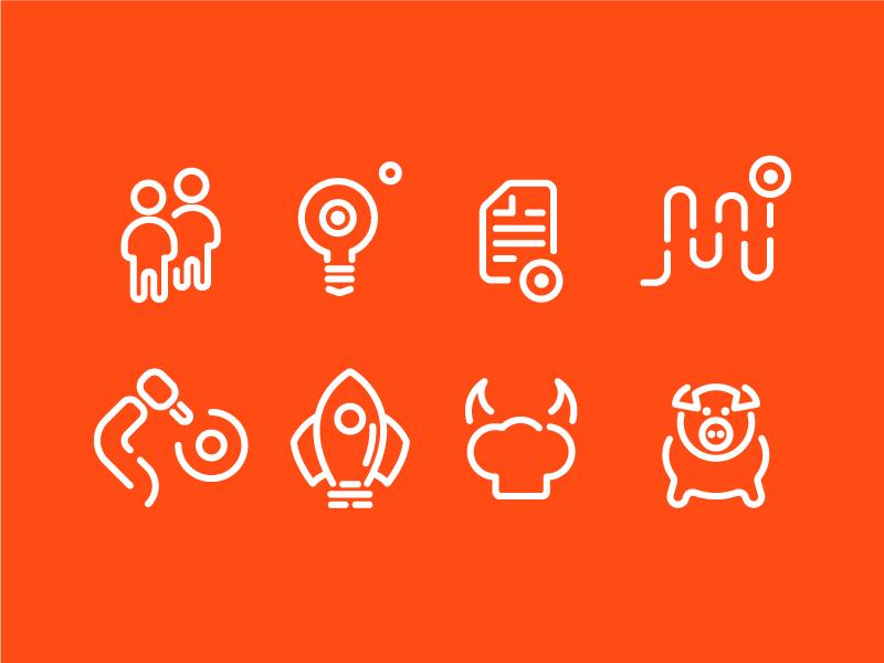 DotConnect.vc Icon Set orange linear branding id identity icons