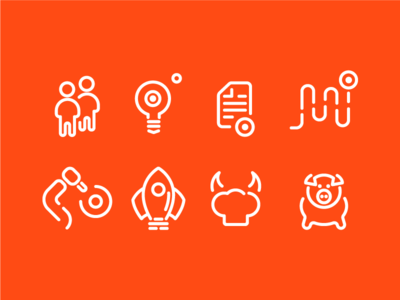 DotConnect.vc Icon Set orange linear branding id identity icons
