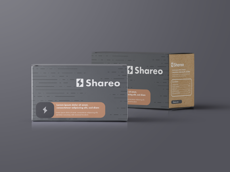 Shareo Packaging paper gray id copper identity icons logo packaging print branding