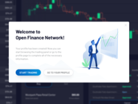 OpenFinance - Welcome illustration trading tokens blockchain fintech cryptocurrency ux ui illustration