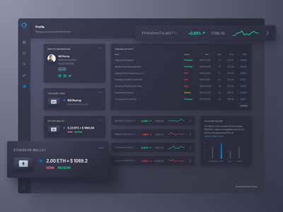 OpenFinance - Profile View dashboard illustration ui ux cryptocurrency fintech blockchain tokens trading