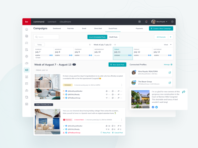 Keller Williams: Automate your marketing product design management property dashboard ui realestateagent real estate realestate transformation digital kellerwilliams command dashboard automation campaign calendar ux design ui