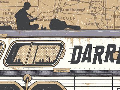 Darren Hanlon WIP gig poster screenprint silkscreen halftone map bus train