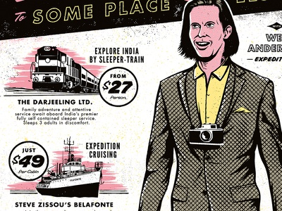 Wes Anderson film movies halftone train boat camp suitcase