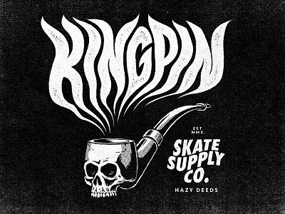 Kingpin Hazy Deeds screenprint halftone smoke pipe skull apparel