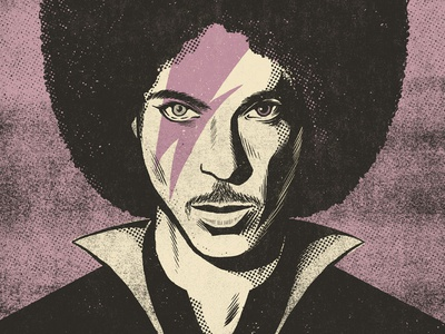 Prince Bowie texture ink halftone portrait