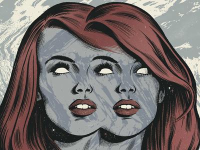 Pixes Gig Poster marble pen ink comics women halftone noise texture warp type gig poster