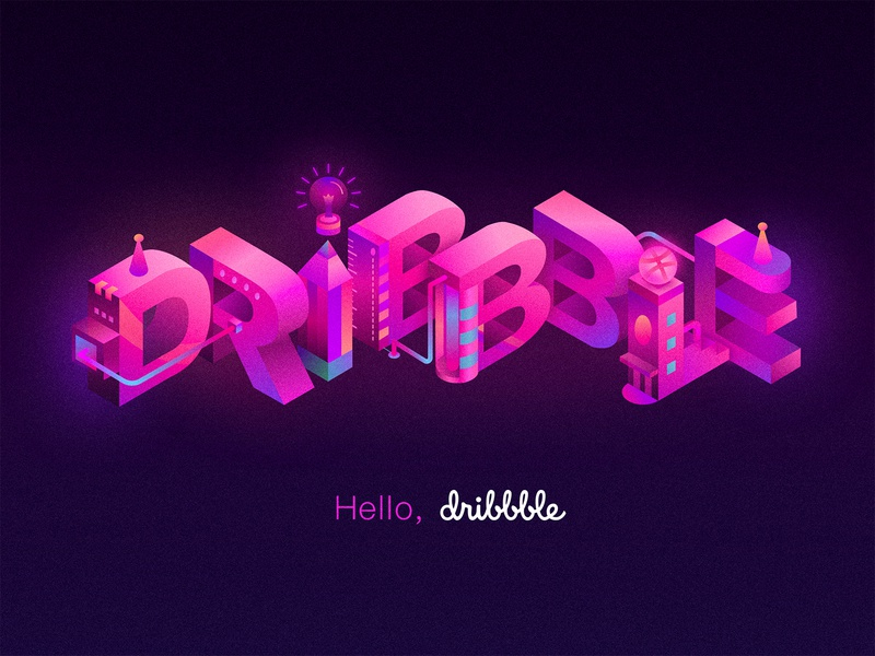 Hello Dribbble illustration typography isometric