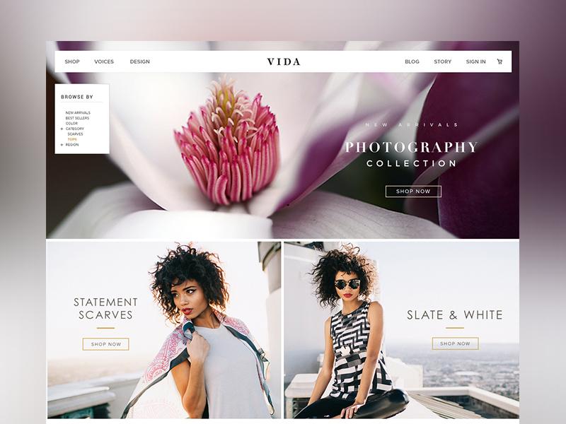 VIDA  Shop Landing Page style guide dashboard web design type header user interface web ui