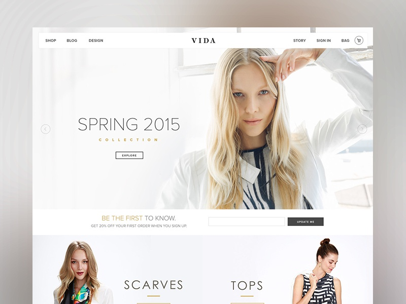 VIDA - Home Page Design style guide dashboard web design type header user interface web ui