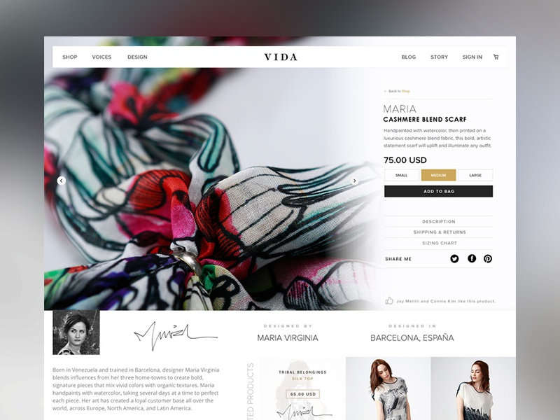 VIDA - Product Page shop fashion commerce mobile style guide dashboard web design type header user interface web ui