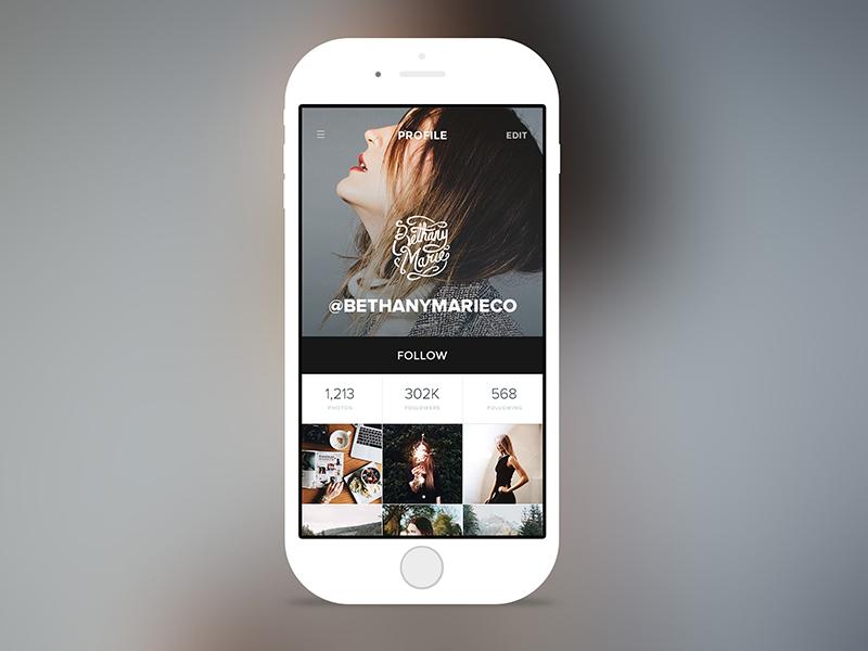 Instagram - Profile Concept ui web user interface header type app design dashboard app mobile