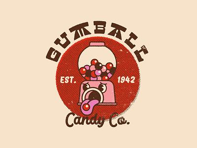 Gumball Candy Co. bubblegum candy halftone distressed cartoon vintage retro branding character logo illustration