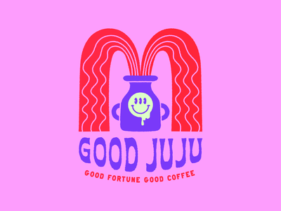 GOOD JUJU Coffee Roasters neon coffee acid smiley vector retro colorful branding logo illustration