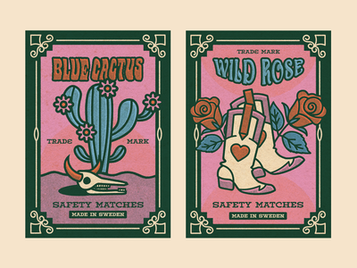 Safety Matches vector matchbox wild west boots rose cowgirl southwestern cactus match box western cowboy retro colorful illustration