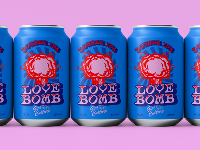 LOVE BOMB Double IPA logo blue 2d illustrator halftone craft beer beer can packaging beer branding retro vector colorful illustration