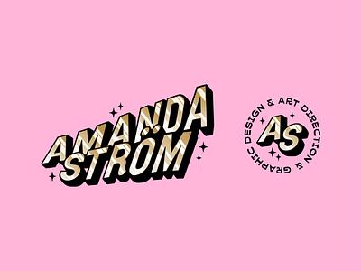 Personal Branding gradient shiny illustration designer pink illustrator personal branding type display type gold retro lettering typography branding logo vector colorful