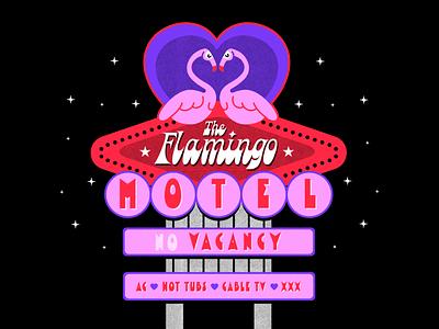 Flamingo Motel lettering las vegas sign vintage motel flamingo design retro vector colorful illustration