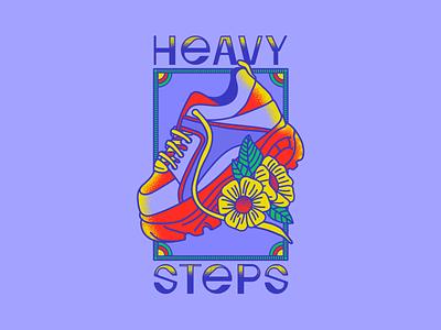 Heavy Steps illustrator aesthetics buffalos y2k nostalgia 90s sneakers shoes buffalo retro vector colorful illustration
