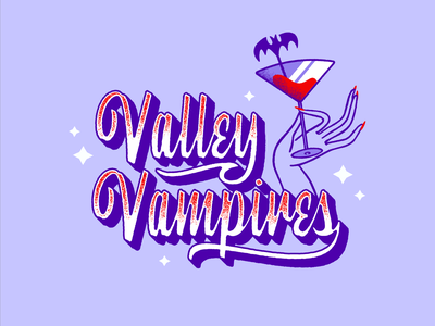 Valley Vampires blood bat lettering purple cocktail 50s drink vampires vintage illustrator design retro vector colorful illustration