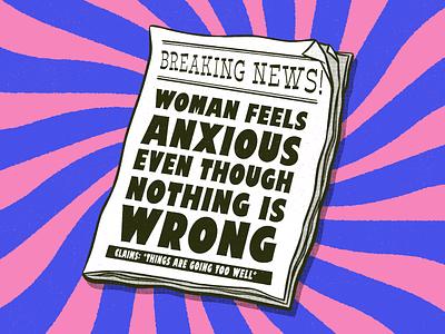 Headlines From My Life 1 mental health anxiety headline newspaper illustrator retro vector colorful illustration