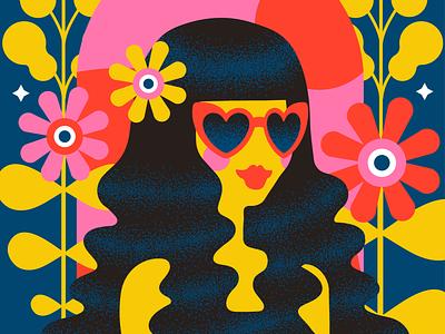 Flower Power hippie flower power flower 1970s 70s design illustrator retro vector colorful illustration