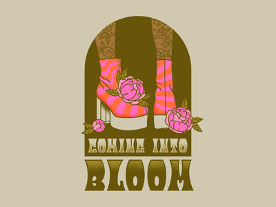 Coming Into Bloom trippy peonies 1970s hippie groovy shoes illustrator retro vector colorful illustration