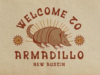Welcome to Armadillo armadillo texas southwestern western illustrator vector retro illustration