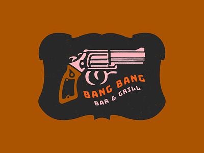 Bang Bang Bar & Grill cowboy western grill bar pistol gun logo branding illustrator retro colorful vector illustration