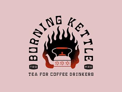 Burning Kettle kettle burning coffee tea logo branding illustrator retro colorful vector illustration