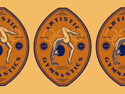 Artistic Gymnastics emblem vintage label rebound gymnastics olympics badge logo branding illustrator retro colorful vector illustration