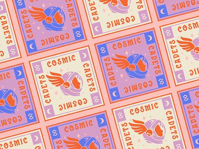 Cosmic Cadets astronaut cadets cosmic space vintage logo branding illustrator retro colorful vector illustration