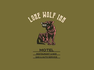 Lone Wolf Inn outdoor vintage motel wolf logo branding illustrator retro colorful vector illustration