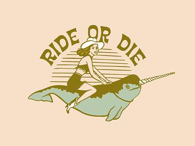 Ride Or Die design narwhal western cowboy vintage logo illustrator retro colorful vector illustration