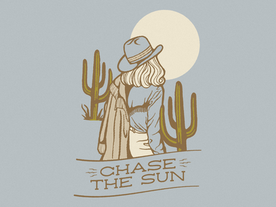 Chase The Sun cactus sun cowgirl southwestern western cowboy illustrator retro colorful vector illustration