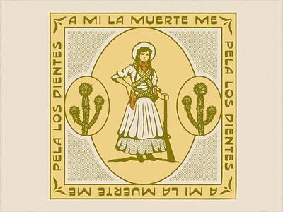 A mí la muerte me pela los dientes bandana cowgirl cowboy mexico vintage design illustrator retro colorful vector illustration