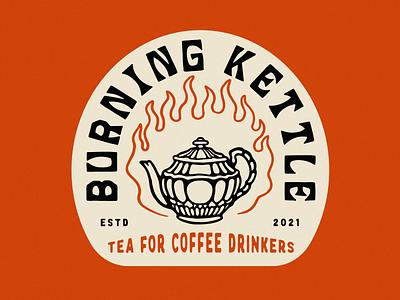 Burning Kettle v 2.0 coffee tea vintage design branding logo illustrator retro colorful vector illustration