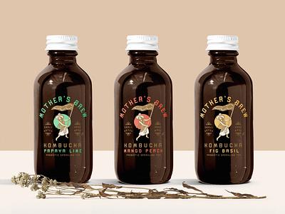 Mother's Brew Kombucha wellness vegan mexico southwest packaging kombucha design branding logo illustrator retro colorful vector illustration