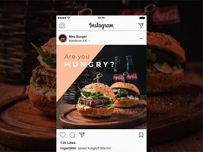 Burger Restaurant Instagram Post Mockup design mockup instagram post instagram ads restaurant