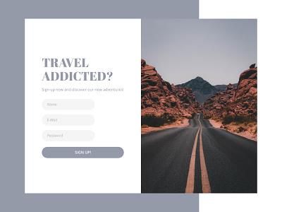 Sign up page form ui ux design adventure travel web dailyuichallenge dailyui signup