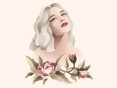 Digital portrait flowers beautiful portrait illustration digital