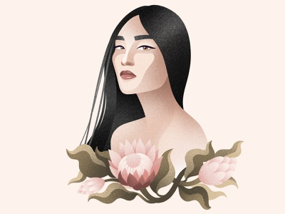 Digital portrait portrait digital illustration flower digital illustration beautiful art flowers flower design illustration digital
