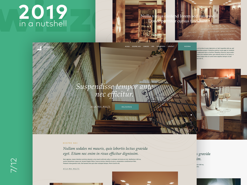 Hotel Home Page Design modern agency grid layout ui clean design elegant warm colors hero image booking boutique hotel homepage