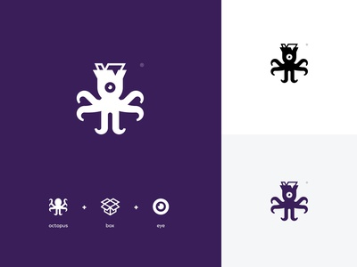 Open minded Octopus Logo creative symbol sea creature eye vision tentacle out of the box open-mind box octopus logo