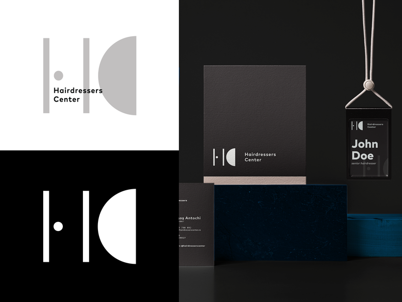 Logo for Hairdressers Center simple modern hdc monogram black and white minimalist hair logo culturalhub hairdressing hair salon hair studio hairdresser hair