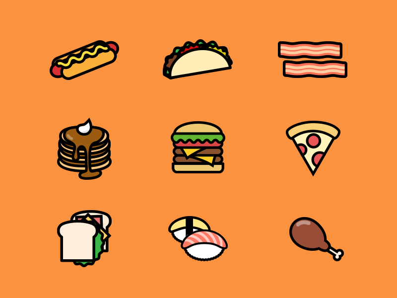 Hungry? Come and get some food! meat sushi sandwich pizza burger pancake bacon taco hotdog illustration food