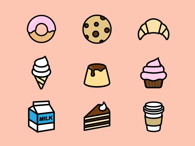 Have some rest, get some dessert;) ice cream coffee cake milk cupcake pudding croissant cookie donut