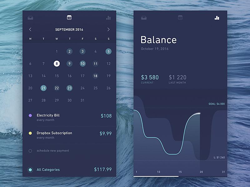 Finance Calendar and Stats calendar transaction spending sketch mobile history finance chart analytics