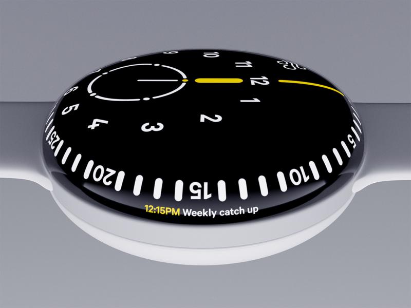 Orbit watch interface ui digital widget physical device 3d blender watch